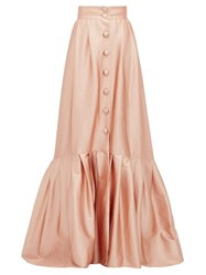 Luisa Beccaria Pleated Hem Buttoned Satin Skirt Light Pink
