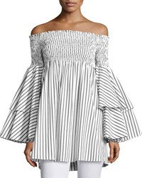 Caroline Constas Apollonia Off The Shoulder Striped Top White Black Black White
