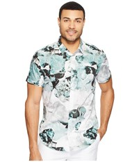 Calvin Klein Short Sleeve Watercolor Flora Frosted Jade Men's Clothing White