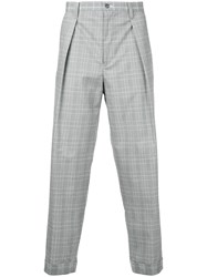 Guild Prime Loose Fit Checked Trousers Grey