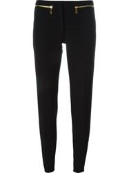 Versace Collection Pleated Zip Detail Skinny Trousers Black