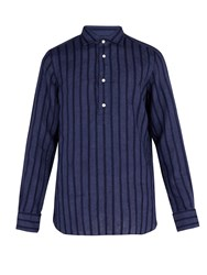 Finamore Miami Collarless Linen Shirt Navy
