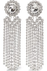 Alessandra Rich Fringed Silver Plated Swarovski Crystal Clip Earrings One Size