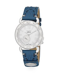 Fendi Timepieces Selleria Mother Of Pearl Stainless Steel And Leather Strap Chronograph Watch Silver Blue
