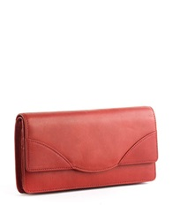 Tusk Donington Leather Flap Clutch Wallet Cherry