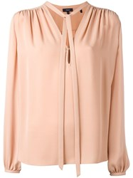 Theory Tied Neck Blouse Pink Purple