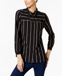 Ny Collection Petite Striped Utility Blouse Noir Dual