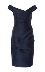 Monique Lhuillier Off The Shoulder Dress Navy