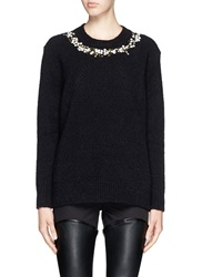 Givenchy Floral Embroidery Wool Cashmere Boucle Sweater Black