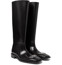 Balenciaga Jive Logo Embellished Leather Boots Black