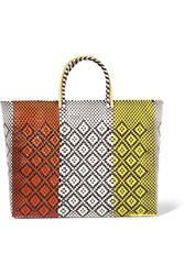 Truss Triptych Woven Raffia Effect Tote Orange
