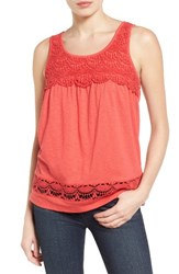 Caslonr Women's Caslon Boho Lace Trim Tank Red Saucy