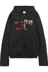 Vetements Oversized Printed Cotton Blend Jersey Hooded Top Black