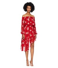 The Kooples Open Shoulder Dress In Rosie Blues Print Silk Muslin Red