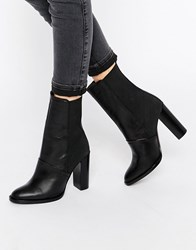 Dune Pembleton Leather Heeled Calf Length Ankle Boot Black Leather