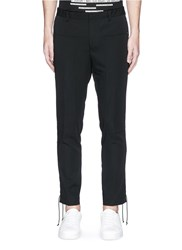 Lanvin Lace Up Outseam Virgin Wool Pants Black