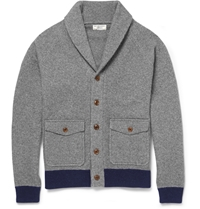 J.Crew Wallace And Barnes Suede Elbow Patch Wool Blend Cardigan Gray