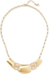Kenneth Jay Lane Gold Tone Crystal And Quartz Necklace Metallic