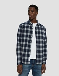 Native Youth Cambridge Check Button Up Shirt Navy