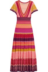 Temperley London Sunlight Striped Crochet Knit Midi Dress Pink