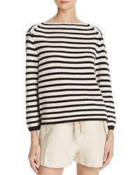 Vince Striped Boat Neck Sweater White Black