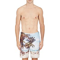 Orlebar Brown Men's Beach Print Dane Ii Swim Trunks White Blue White Blue