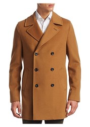 Saks Fifth Avenue Collection Double Breasted Peacoat Dark Camel