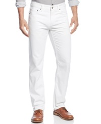 Alfani Big And Tall Straight Ridge Jeans White