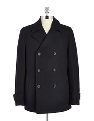Black Brown Double Breasted Peacoat Winter Navy