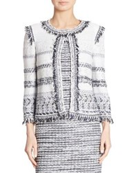 St. John Fringed Tweed Jacket Bianco Navy Multi