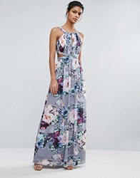 Little Mistress Printed Maxi Dress With Cut Outs Print Multi