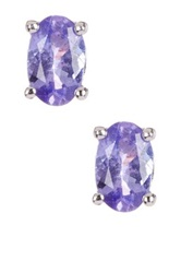 Savvy Cie Tanzanite Oval Stud Earrings Purple