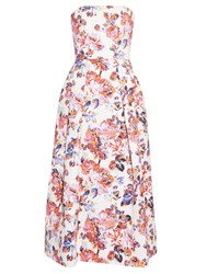 Mary Katrantzou Pearl Solar Rose Print Strapless Dress White Print