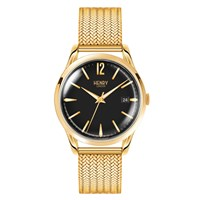 Henry London Mens 39Mm Westminster Black Dial Stainless Steel Bracelet Watch Black Gold