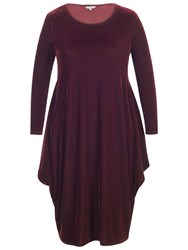 Chesca Velvet Drape Dress Wine
