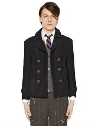 Thom Browne Distressed Melton Wool Peacoat