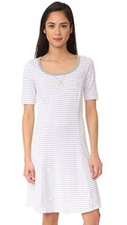 Three Dots Short Sleeve Stripe Dress White Grey