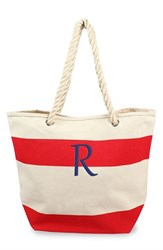 Cathy's Concepts Personalized Stripe Canvas Tote Red Red R