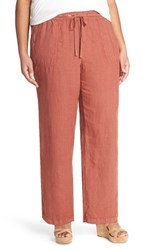 Plus Size Women's Caslon Drawstring Linen Pants Brown Mahogany