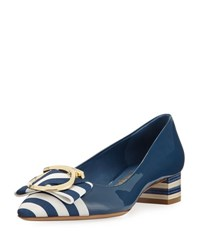 Salvatore Ferragamo Ezia Patent Striped Bow Pump Blue