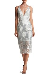Dress The Population Women's Angela Sequin And Lace Midi White Matte Silver