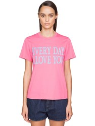 Alberta Ferretti 'Every Day I Love You' Cotton T Shirt Pink