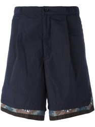 Kolor Printed Trim Shorts Blue