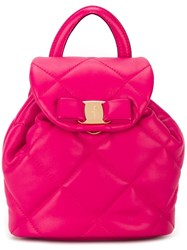 Salvatore Ferragamo Mini 'Vara' Quilted Backpack Pink And Purple