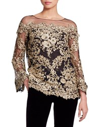 Marchesa Long Sleeve Metallic Corded Lace Evening Blouse Yellow Black