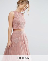 Lace And Beads Mesh Top With Floral Embellishment Co Ord Dusty Pink