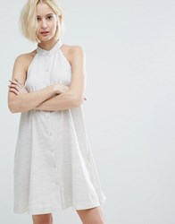 Native Youth High Neck Swing Dress With Button Front Oatmeal Beige