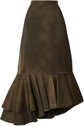 Brock Collection Asymmetric Pleated Matte Satin Skirt Dark Green