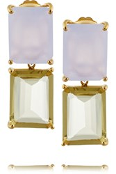 Bounkit Gold Tone Chalcedony And Quartz Earrings Metallic