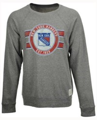 Retro Brand Men's New York Rangers Tri Blend Crew Neck Sweatshirt Heather Gray